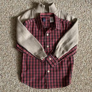 Class Club button down shirt and pullover sweater